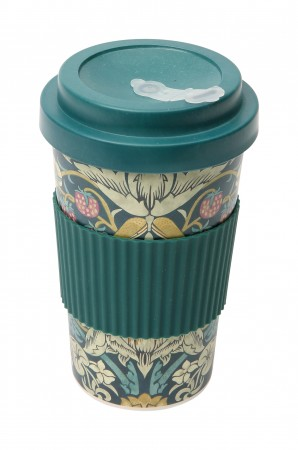 Morris & Co Strawberry Thief Bamboo Fibre Drinks Mug, Teal