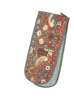 Morris & Co Strawberry Thief Double Oven Glove, Red
