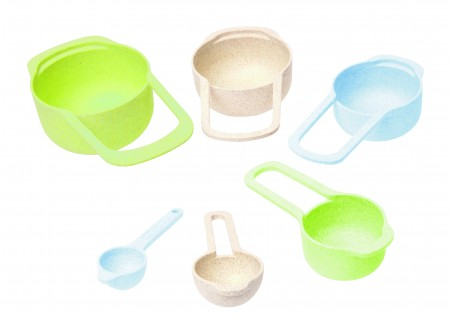 Wheat Fibre Measuring Cup & Spoon Asstd Colours