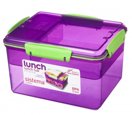 Sistema Trends 2.3L Lunch Tub With Tray - Pack of 4
