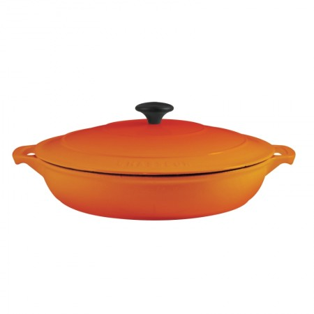 Buy the Chasseur 30cm Cast Iron Enamel Casserole Serving Dish & Lid 2.5L - Flame Orange | Dexam