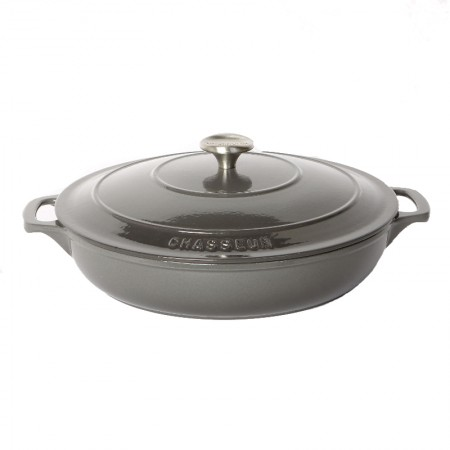Buy the Chasseur 30cm Cast Iron Enamel Casserole Serving Dish & Lid 2.5L - Urban Grey | Dexam