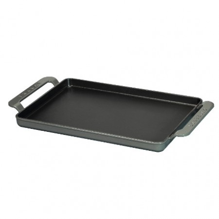 Chasseur Cast Iron Rectangular Flat Griddle 42x24cm - Black/Red