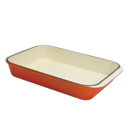 Buy the Chasseur Cast Iron Enamel Roasting Dish, 32cm – Flame Orange at Dexam