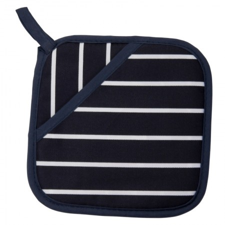 Buy the Rushbrookes Pot Grab Oven Glove in Butcher's Stripe Design - Navy Blue - Dexam