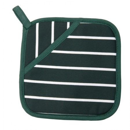 Buy the Rushbrookes Pot Grab Oven Glove in Butcher's Stripe Design - British Racing Green - Dexam