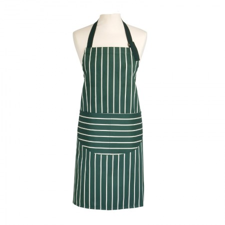 Butcher's Stripe Apron Racing Green