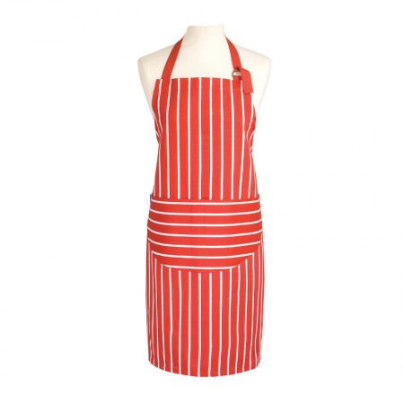 Butcher's Stripe Apron Red