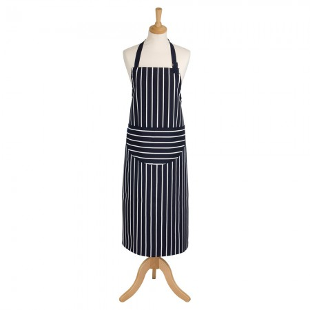 Butcher's Stripe Long Apron Navy