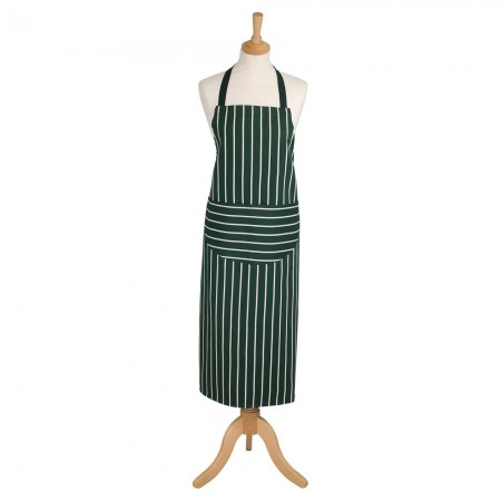 Butcher's Stripe Long Apron Racing Green