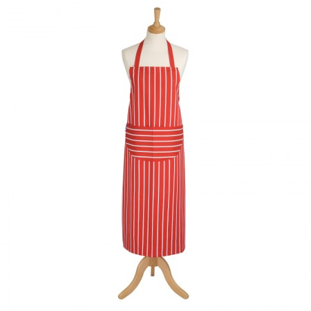 Butcher's Stripe Extra Long Apron - Red
