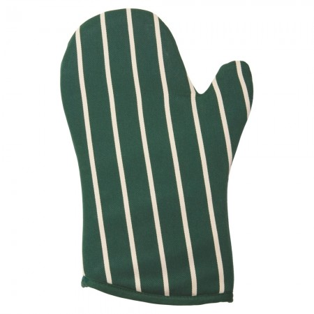 Buy the Rushbrookes Butcher's Stripe Gauntlet Oven Glove, British Racing Green - Dexam