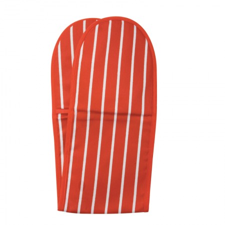 Butcher's Stripe Double Oven Glove - Red