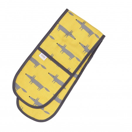 Mr Fox yellow cotton double oven glove in a cheeky yellow
