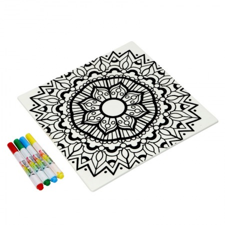 Buy the Just Add Colour Ceramic Colour Your Own Trivet/Worktop Saver at Dexam