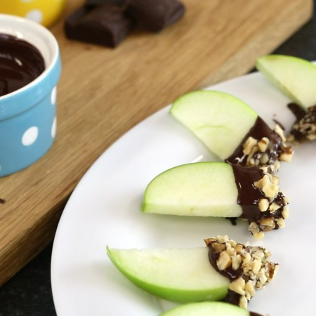 Apple dipped Chocolate and Nuts