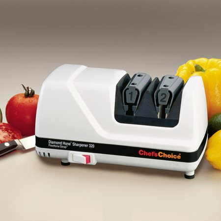 ChefsChoice Model 320 - an electric knife sharpener you can use for faster sharpening of european and serrated knives with 100% diamond abrasives
