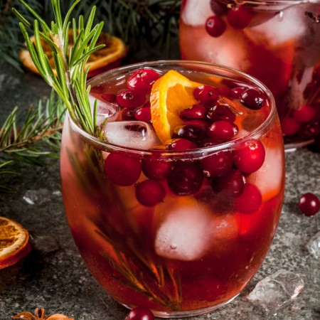 Cranberry and Cinnamon Whiskey Sour