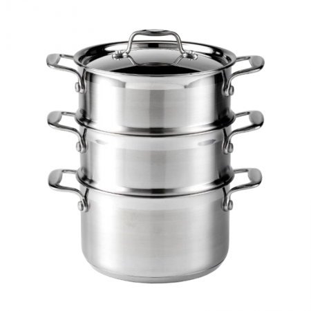 Buy the Supreme 3 tier Stainless Steel Steamer Set from Dexam