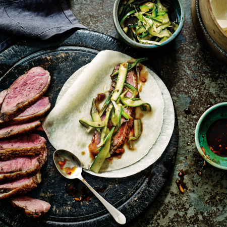 Crispy Duck Breast With Pancakes and Cucumber Pickle