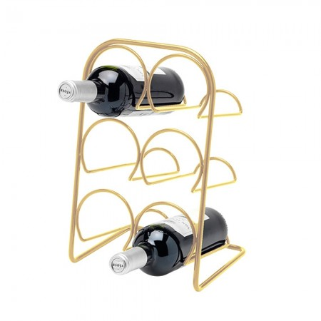 Hahn Pisa Wine Rack 6 Bottle - Gold