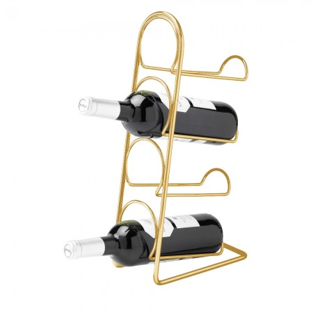 Hahn Pisa Wine Rack 4 Bottle Gold