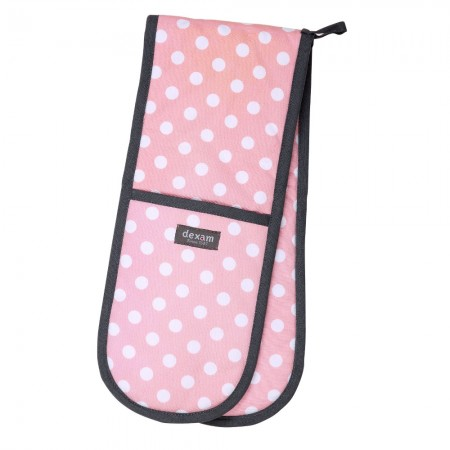 Double Oven Glove- Polka Blush Pink