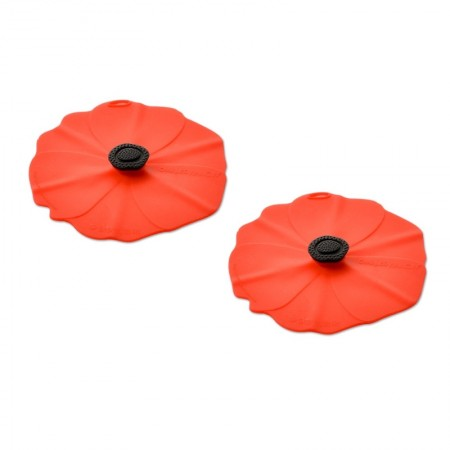 Charles Viancin Poppy Drink Covers Red - Set of 2|