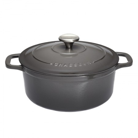 Buy the Chasseur 24cm Cast Iron Enamel Casserole Dish & Lid 3.8L - Urban Grey | Dexam