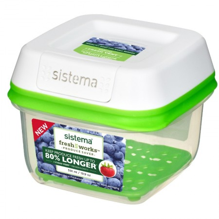 Sistema Freshworks Small Square Container, 591ml
