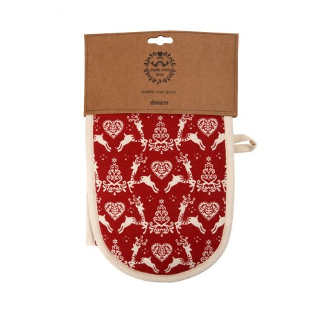 Yuletide Double Oven Glove- Red, Dexam