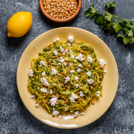 Zucchini Noodles with Pine Nuts and Feta