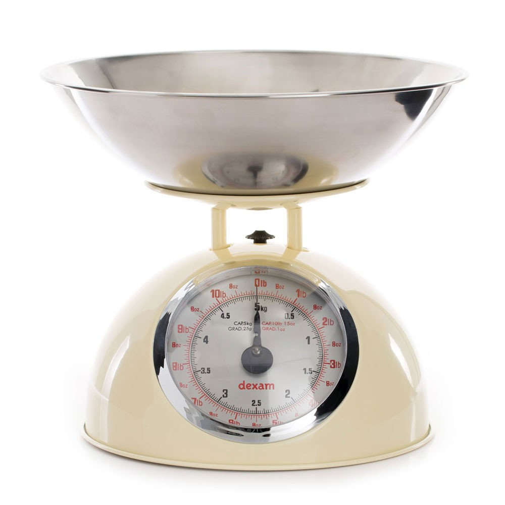 Dexam Retro Kitchen Scales with 2L Stainless Steel Bowl