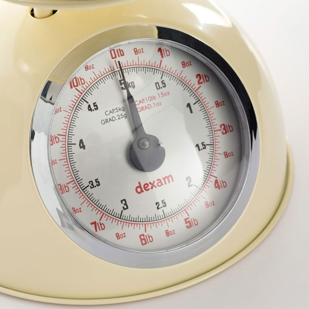Dexam Retro Kitchen Scales With 2l Stainless Steel Bowl Cream Dexam
