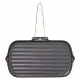 Buy the Chasseur Rectangular Cast Iron Grill Pan, 37cm – Matt Black – Matt Black 37x22cm from Dexam UK Online