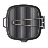 Buy the Chasseur Cast Iron Enamelled Square Grill Pan 27cm with Folding Handle at Dexam