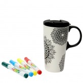 Buy the Dexam Just Add Colour Ceramic Colour Your Own Travel Mug – Mandala at Dexam