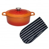Chasseur Cast Iron 18cm Casserole & Oven Gloves - Flame Orange