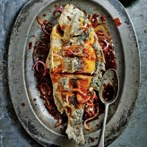 Crispy Bream with Pickled Red Onion and Sweet Chilli Dressing