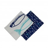 Dexam Set of 2 Tea Towels - Fish Marine Blue