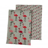 Dexam Flamingo Set of 2 Tea Towels, Pink combo