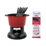 Chasseur Cast Iron Chilli Red Fondue Set With Free Pack of 3 Fondue Fuel