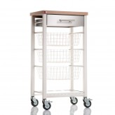 Don Hierro Onda Ivory White & Beech Kitchen Trolley