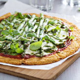 Cauliflower Flatbread with Asparagus and Courgette Pizza