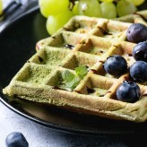 matcha waffles with grapes