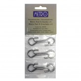 Hahn Metro Chrome Wall Utensil Rail Hooks Set/6