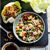 Stir-Fried Prawn, Edamame and Pine Nut Lettuce Wraps