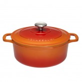 Buy the Chasseur 28cm Cast Iron Enamelled Casserole Dish - Flame Orange from Dexam