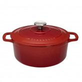 Buy the Chasseur 28cm Cast Iron Enamel Casserole Dish & Lid 6.3L – Chilli Red | Dexam