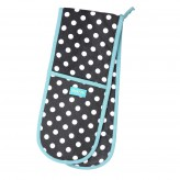 Double Oven Glove- Polka Slate Grey